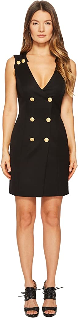 Pierre Balmain Gold Embellished Buttoned Dress