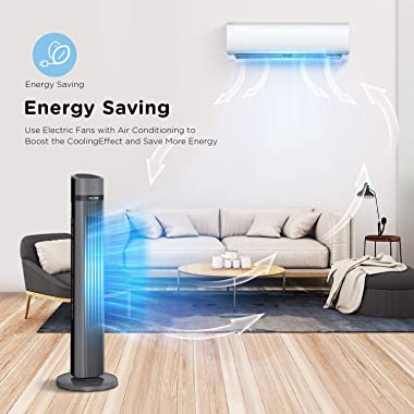PELONIS Oscillating Tower Fan with Remote Control 40'' Quiet Stand Up Fan with 3 Speed Settings and 3 Modes 15-Hour Timer LED