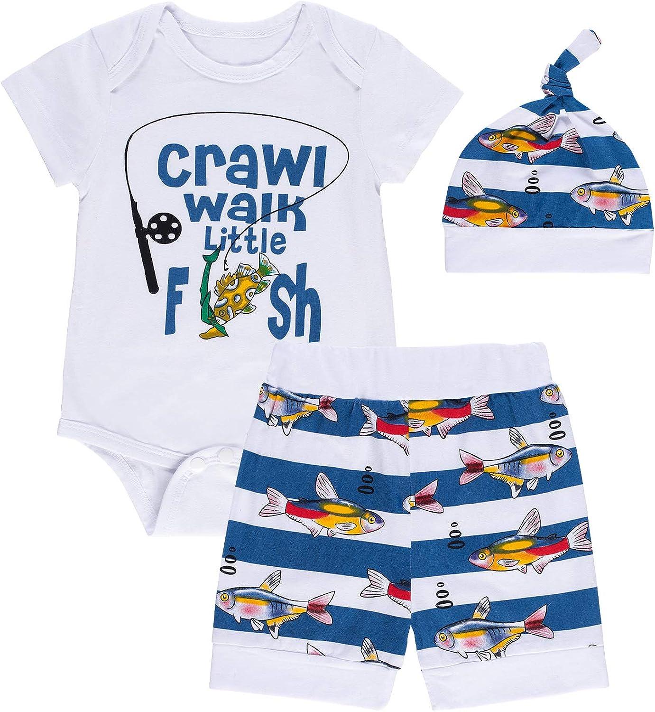Baby Boy Fishing Clothes Funny Print Short Sleeve Outfits Set Tops + Short Pants
