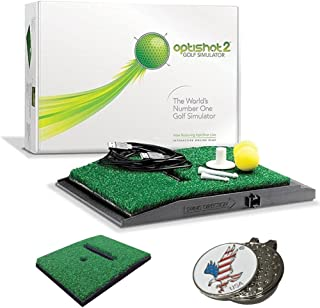 OPTISHOT 2 Golf Simulator (Mac & PC) Bundle | Includes 1 Extra Replacement Mat and 1 American Eagle Golf Ball Marker