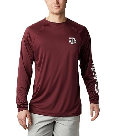 Columbia College Texas AM Aggies Terminal Tackletm Long Sleeve Shirt (Deep Maroon/White) Men