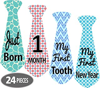 Mesmerico 24 Baby Monthly Holiday Tie Necktie Stickers - Baby Boy First Year Month Age Growth Milestones - Month Stickers for Baby Onesie Belly Stickers - Great Shower Registry Newborn Gifts