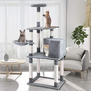 ScratchMe 59 inch Cat Tree Condo with Scratching Post Platform, Pet House Activity Tower Plush Perches with Hammock
