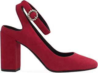 WHAT FOR Women's PF18WF021 Red Suede Heels