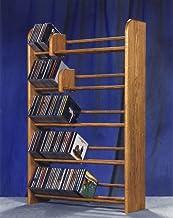 Solid oak dowel CD rack 275 (honey oak) (37H x 24.25W x 7.25D)