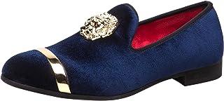 Mocassins Homme Velours Slip-on Confortables Flats pour Mariage Chaussures avec Les Parures Dorés Noir Bleu