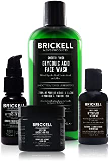 Brickell Men's Smooth Finish Glycolic Acid Routine For Men, Face Wash, Treatment, Peel and Serum, Natural and Organic, Sce...