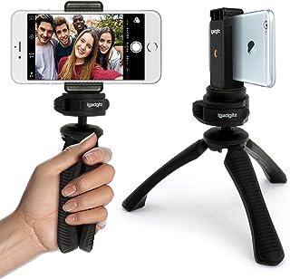 iGadgitz U4331-KIT Mini Ligera Trípode de Mesa & Mano Estabilizador + Universal Móvil Smartphones Soporte Adaptador de Montura – Negro