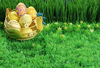 DaShan 5x3ft Polyester Photography Backdrop Happy Easter Day Painted Eggs Fresh Nature Green Grass Flowers Backdrops for Photo Shoots Lovers Party Adult Kids Photo Background Studio Props