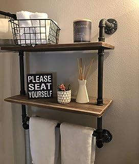 "Industrial Pipe Shelf,Rustic Wall Shelf with Towel Bar,20"" Towel Racks for Bathroom,2 Tiered Pipe Shelves Wood Shelf Shelv..."