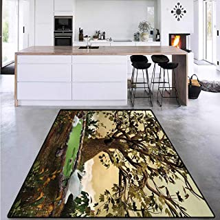 Area Rug Boys Room, Forest Tree Pond and Swans, Anti-Skid Area Rugs 6`x7`