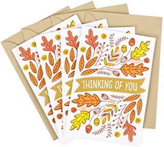 Hallmark Pack of Thanksgiving Cards, Thinking of You (4 Cards with Envelopes)