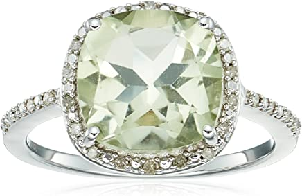 Sterling Silver Cushion-cut Green Amethyst with White Diamond Halo Cocktail Ring, Size 7