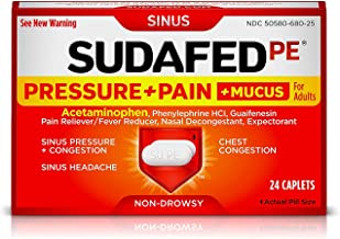 Sudafed PE Pressure + Pain + Mucus for Adults Caplets - 24 ct, Pack of 2