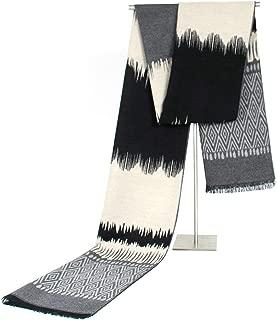 Scarf for Men Women Rhombus Wave Pattern Cashmere Winter Scarf