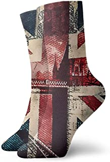 SARA NELL Men's Dress Socks London Bridge and England Flag Winter Warm Thick Printed Casual Cozy Crew Socks