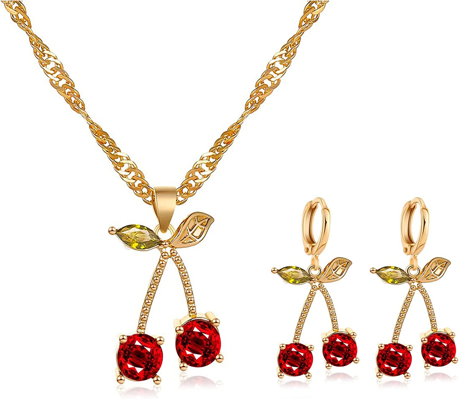 Pingyongchang Unique Chic Charm Sparkly Red Crystals Cherry Statement Earrings Necklace Sets Green Leaf Red Rhinestones Fruit Cherry Dangle Earrings for Women Girls Jewelry Gifts