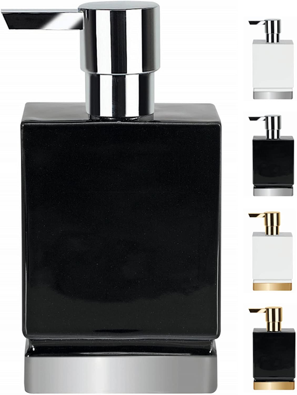 Spirella Roma Dispensador de Jabón Líquido, Gres, Negro/Plateado, 17.0 X 4.5 X 9.0 Cm