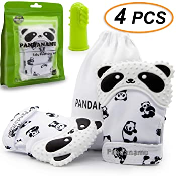 Baby Teething Mitten Panda Teether Mitten with Baby Toothbrush & Massager Teething Glove Mitt Infant Toy(2 Mittens wi...