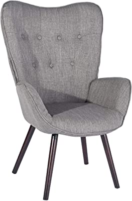 Wingback Accent Armchair Velvet Green Fabric KD Solid Wood Legs Side Chair (Grey)