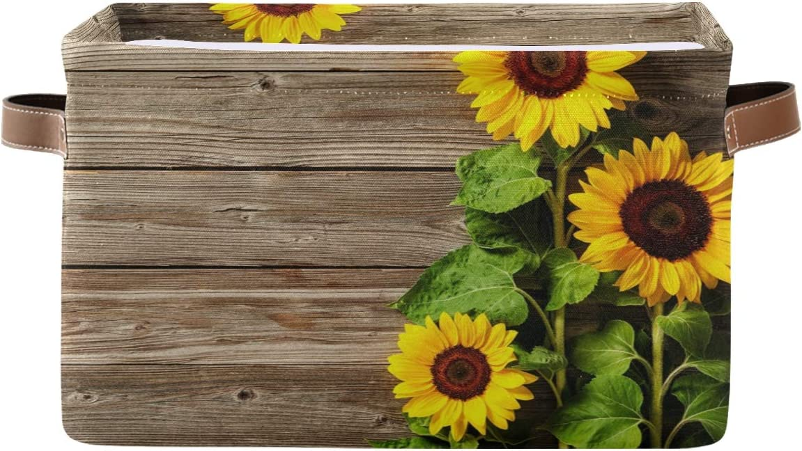 Toprint Vintage Sunflower Wooden Storage Large Limited Special Price Basket Fabric Industry No. 1 Bin