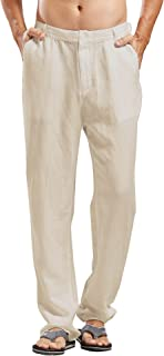 Chartou Man's Summer Casual Stretched Waist Loose Fit Linen Beach Pants