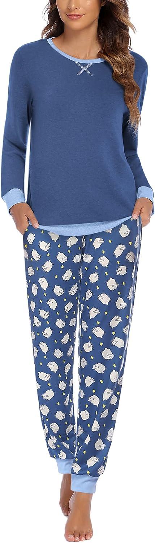 Ekouaer Women's Pajamas Sets Long Sleeve with Plaid Pants Soft Sleepwear O Neck 2 Piece Pjs Joggers Loung Set with Pockets