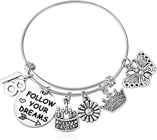 Hazado 18th Birthday Gifts for Women Follow Your Dreams Cake Charms Bracelet Jewelry for Her 18 Year Old Girl Gifts Stainless Steel Expandable Bangle Adult Ceremony Gifts