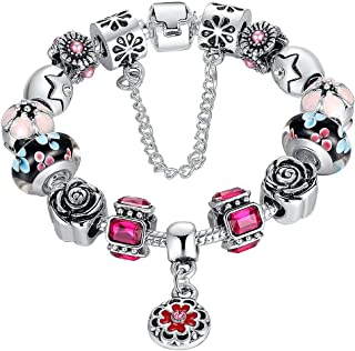 Presentski Fashion Charm Bracelet for Teen Girls and Women with Flower Themed Charms