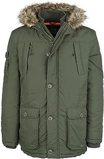 Mens Crosshatch Heavy Weight Fur Hood Parka Parker Padded Waterproof Winter Coat Jacket