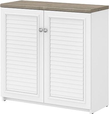 Bush Furniture Fairview 2 Door Low Storage Cabinet, Shiplap Gray/Pure White