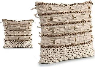 TU TENDENCIA UNICA Cojín Decorativo Punto Beige con Tiras de algodón en Beige y marrón. Medidas: 45x15x45 cm