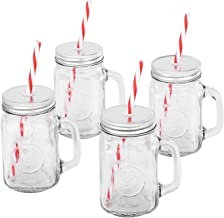 Mason Jar Mugs with Handle, SILVER Lid and Plastic Straws. 16 Oz. Each. Old Fashion Drinking Glasses - Pack of 4. By Premi...