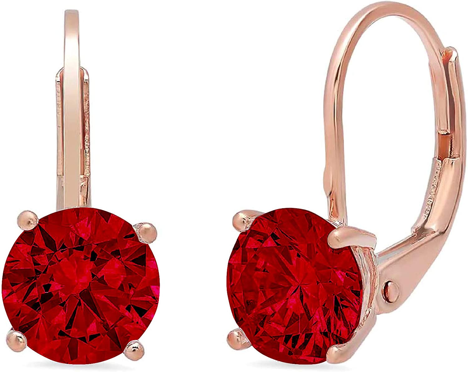 Clara Pucci 2.0 ct Brilliant Round Cut Solitaire VVS1 Fine Natural Red Garnet Gemstone Pair of Lever back Drop Dangle Earrings Solid 18K Rose Gold