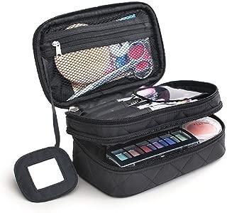 MONSTINA Cosmetics Bag,Double Layer Makeup Bag, With Mirror, Brush Bags Travel Organizer,Cosmetic Bag Professional Multifunctional Organizer For Women (Black)