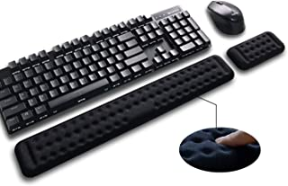 Mountain Victor Keyboard Wrist Rest & Mouse Wrist Support Set - 17.3 Inch Memory Foam Gaming Wrist Cushion for Office, Computer, Laptop & Mac Typing - Ergonomic Wrist Pad for RSI & Carpal Tunnel Black
