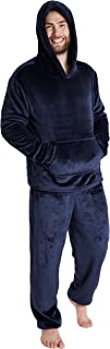 CityComfort Mens Pyjamas Set, Warm Fleece Pyjamas for Men with Fluffy Hoodie