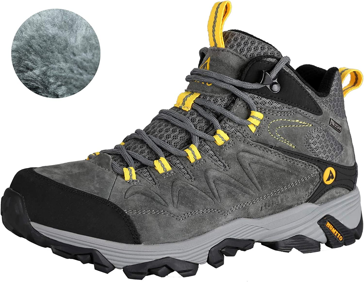 HUMTTO Mens Outdoor Non-Slip High-Top Warm Plus Velvet Hiking Boots GR10