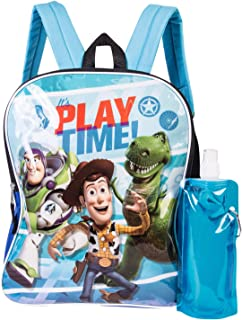 Toy Story Backpack Combo Set - Disney Pixar Toy Story Boys' 3 Piece Backpack Set - Woody & Buzz Lightyear Backpack, Waterbottle and Carabina (Light Blue/Royal)
