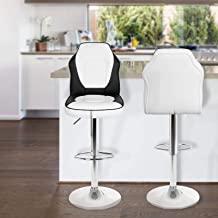 Magshion Extra Comfort Modern Racing Seat Bar Stools Chair Adjustable Swivel Mixed Color Set of 2 (White/Black)