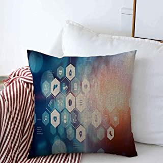 Decorative Square Throw Pillow Covers Doctor Blue Render Medicine Abstract Mixed Health Media Data Digital Design Cushion Case for Sofa Bedroom Car 16 x 16 Inch