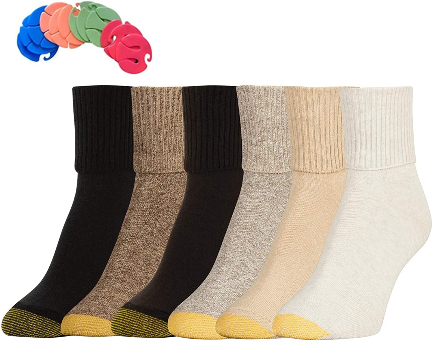 gold Toe Women's 6 Pack Turn Cuff Socks   6 Free Sock Clips Included ( 5 Value)