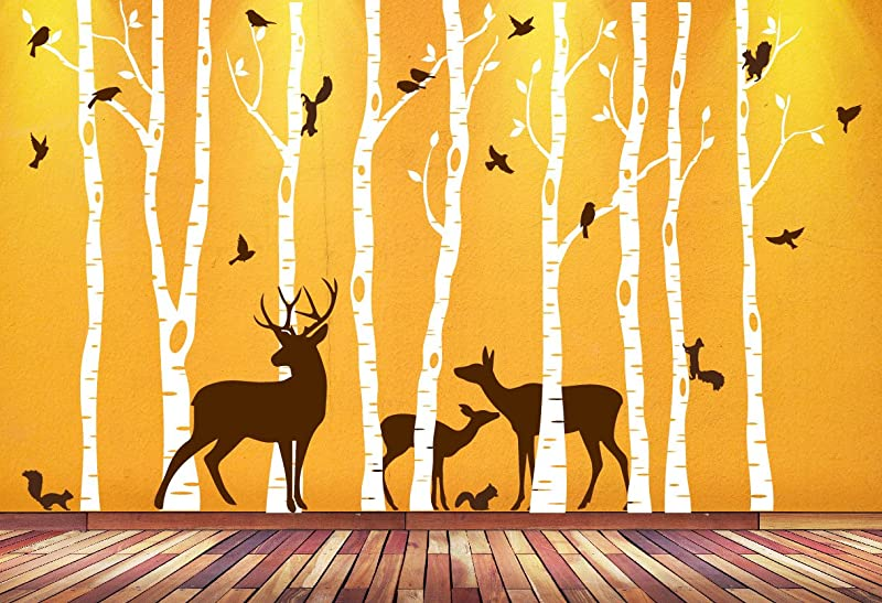 Birch Tree Wall Art Decal Forest Woodland Birds Deer Family Squirrels Buck Doe Fawn Nursery Decor Sticker Removable Custom 9 Trees 1362 84 7 Ft Tall White Trees Brown Animals
