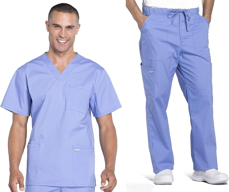 Workwear Professionals Men Scrubs Set V-Neck Top WW695 & Drawstring Pant WW190T (Ciel Blue, M/M Tall)