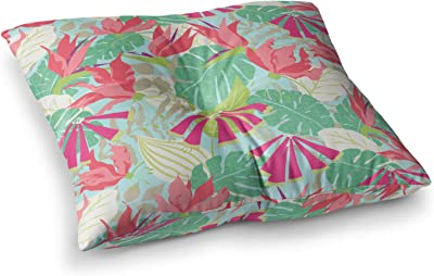 Kess InHouse Mmartabc Watercolor Flowers and Leaves Beige Pink Illustration 23 x 23 Square Floor Pillow