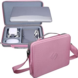 Smatree Hard Shell Carrying Case Compatible for 13.3 inch MacBook Pro/MacBook Air 2020 2019 2018 2017/12.9 inch iPad Pro/ 12 inch MacBook/Surface Pro X/7/6/5/4, Laptop and Tablet Shoulder Bag (Pink)