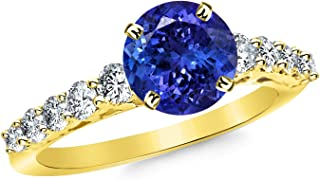 2.65 Carat 14K White Gold Classic U Prong Diamond Engagement Ring with a 2 Carat Natural Tanzanite Center (Heirloom Quality)