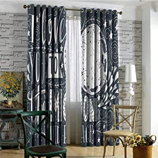 I Love You 100% blackout lining curtain Wish from the Universe Harvest Swirls Branches Floral Leaves Stars Full shading treatment kitchen insulation curtain W84 x L72 Inch Dark Petrol Blue White
