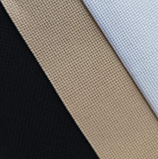 "12"" x 18"" by 3 Pack 18CT Counted Cotton Aida Cloth Cross Stitch Fabric (White+Khaki+Black)"