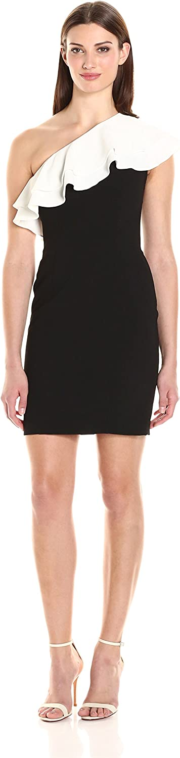 Aidan Mattox Womens One Shoulder Cocktail Dress with Contrasting Double Ivory Ruffle Dress